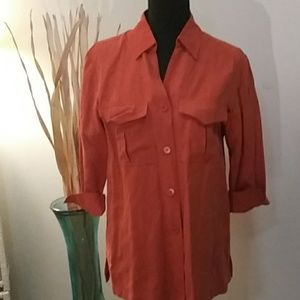 Charter Club Orange button-down top silk and linen